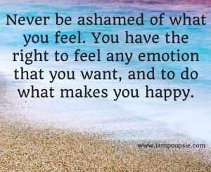 never be ashamed of what you feel quote